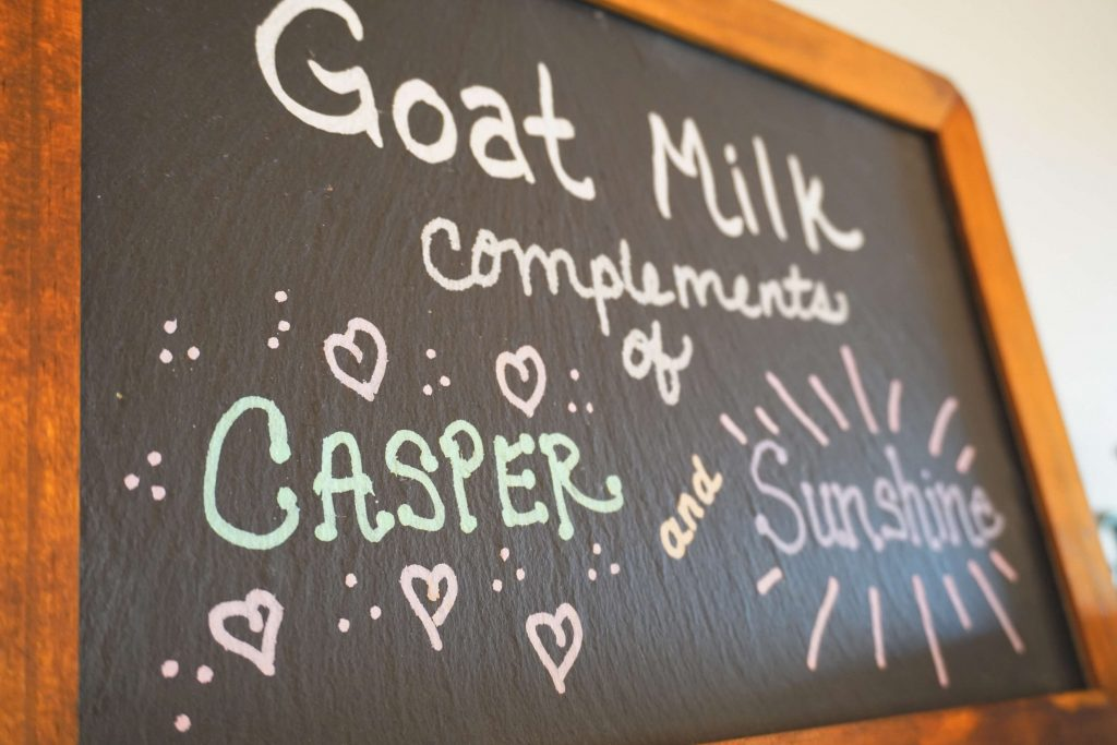 Chalkboard with goat names